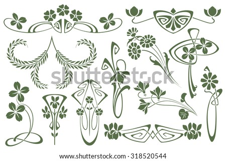 Vector set flower vignette  on different versions for decoration and design - stock vector