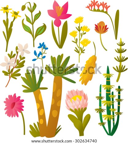 vector set flowers and plants, leaves and brunches - stock vector