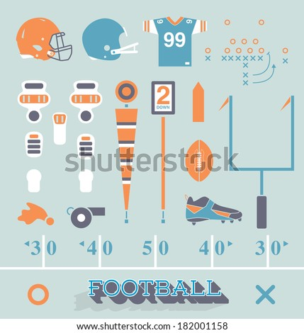Vector Set: Football Equipment Icons and Symbols - stock vector