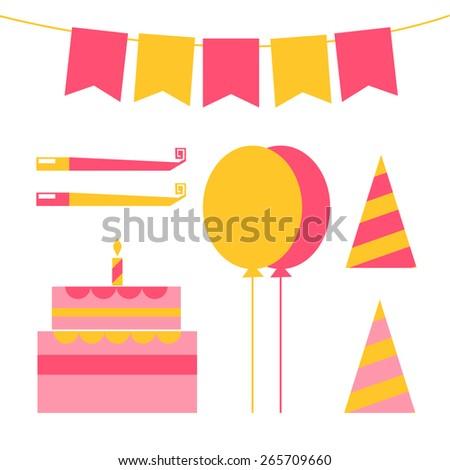 vector set for birthday, happy birthday vector set - stock vector
