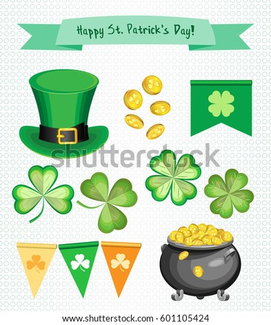 Vector set for St. Patrick's Day. Isolated parts for the creation of your work