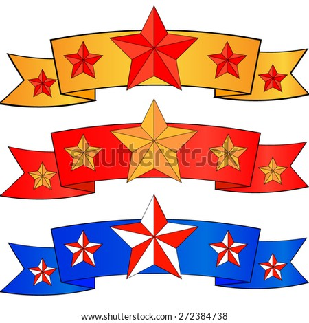 vector set for victory day with stars on ribbon in different colors