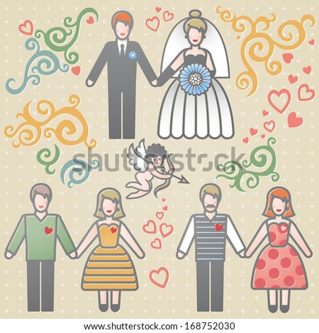 Vector set for wedding invitation with couples, scrolls, cupid and hearts. It can be used for decorating of invitations, cards, brochures, magazines, leaflets. Design elements, designers toolkit. - stock vector