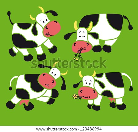 Vector set - four  cartoon cows
