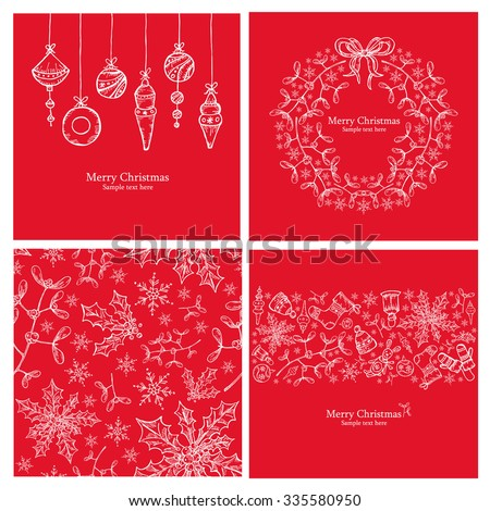 Vector set: Four Christmas card with Christmas decorations.drawing - stock vector