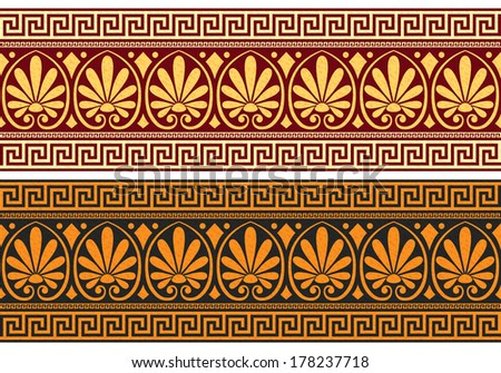 Vector set frieze with vintage golden and blue Greek ornament (Meander) and floral pattern - stock vector