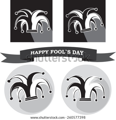 vector set from black and white silhouette clowns hat in frame for fools day - stock vector