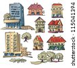 Vector set from eight apartment houses. - stock photo