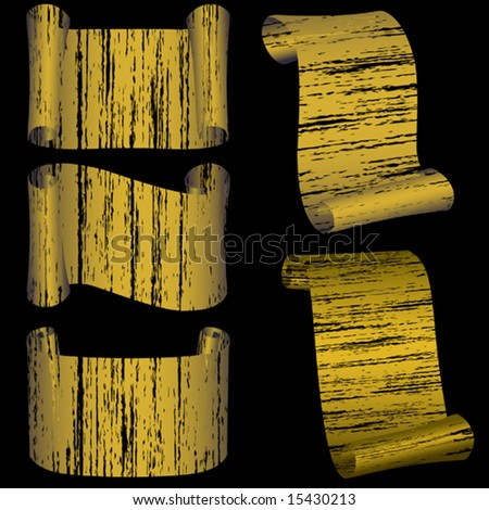 Vector.Set from five grunge gold banners - stock vector