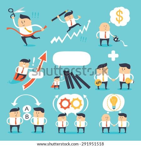 Vector set - funny business people - stock vector