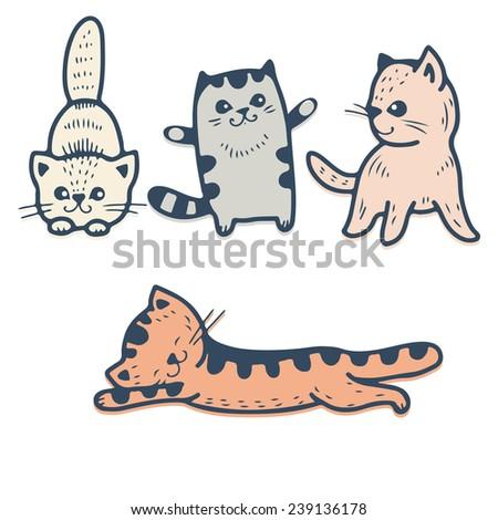 Vector set - funny cartoon kittens. - stock vector