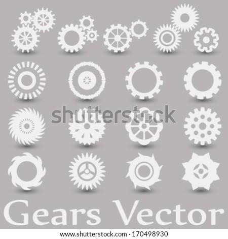 vector set, gearwheel (cogs) mechanism icons, illustration on grey background - stock vector