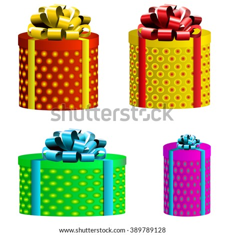 VECTOR set. Gift boxes. Different colors. Red, yellow, light blue, green, magenta. Isolated on white boxes.   - stock vector