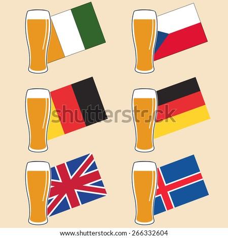 vector set glass of light beer on national european flags - stock vector