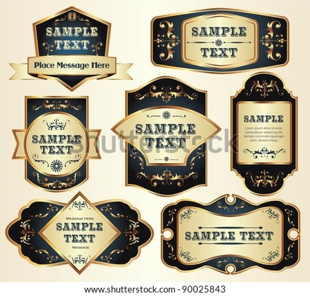 vector set: gold-framed labels - stock vector