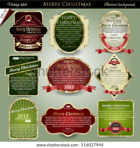 vector set: gold-framed labels for Merry Christmas - stock vector