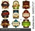 акции вектора: вектор набор: золотой оправе этикетки - 9 пунктов на разные темы