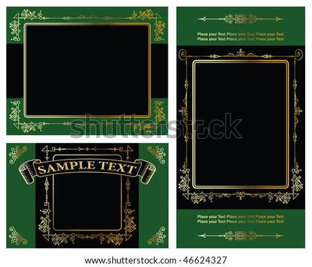 vector set: gold-framed labelsand background on different topics