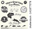Vector Set: Gone Fishing Labels - stock vector