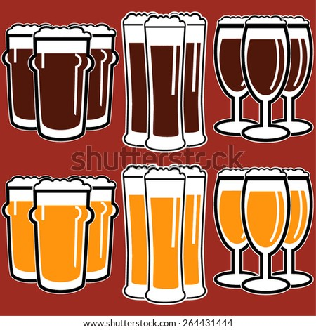 vector set group of three glasses with dark and light beer on red background - stock vector