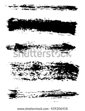 Vector set grunge black ink brush strokes. Hand-drawn background. Modern design elements for your design.