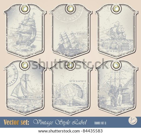 Vector set: Grunge nautical label for decoration and design - stock vector
