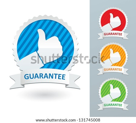Vector set guarantee labels - stock vector
