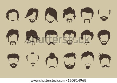Vector set. hair, mustache, beard - stock vector