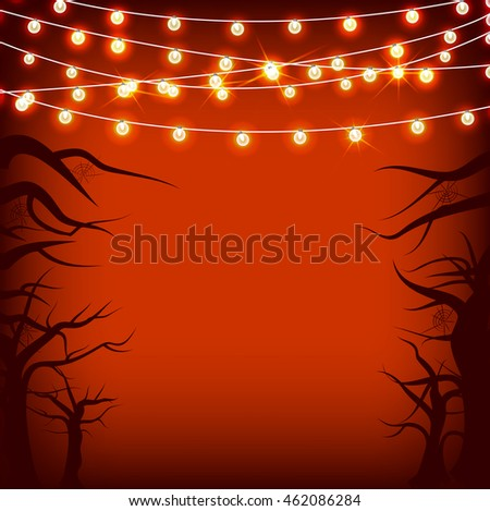 Vector set Halloween and other holidays garlands star light on transparent red background with tree and spider web. Electric lighting for greetings.