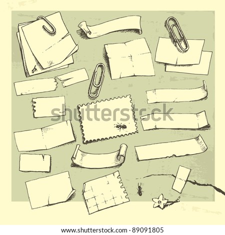 Vector set: hand drawn pieces of paper and paper clips. - stock vector