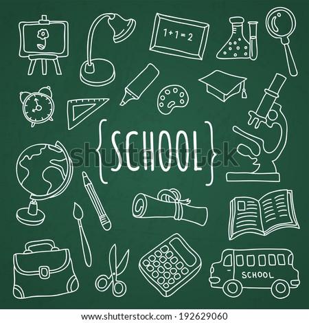 Vector set hand drawn school icons university college on green school board - stock vector