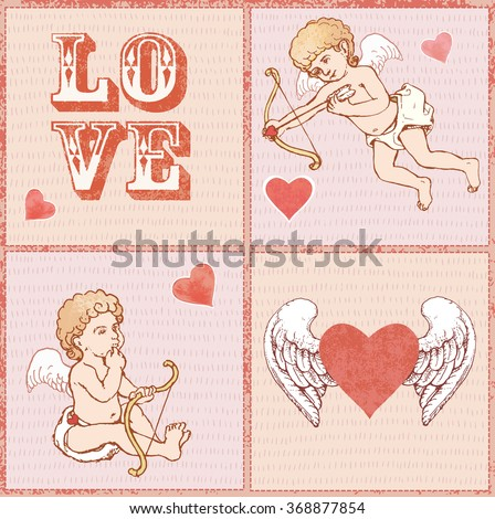 Vector set: hand drawn Valentines day elements, angels and winged heart on pink background