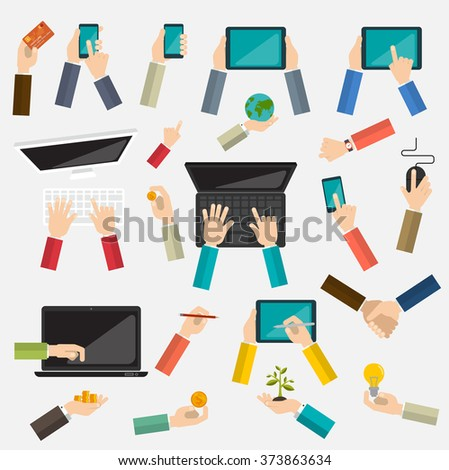 Vector set hands materials. Mix hand hold multi device collection - stock vector