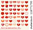 Vector Set: Heart and Love Labels and Icons - stock vector
