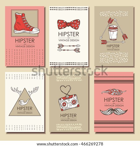 Vector set: Hipster style backgrounds and hipster elements and labels. hand drawn