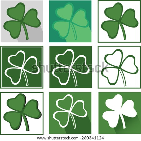 vector set icons clover for saint patrics day in different green colors - stock vector
