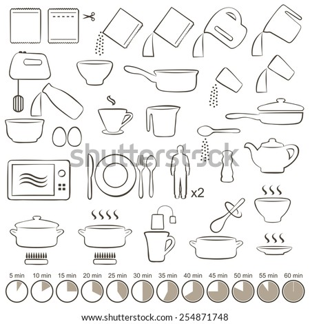 vector set icons  cooking tools,  manual instructions,  - stock vector
