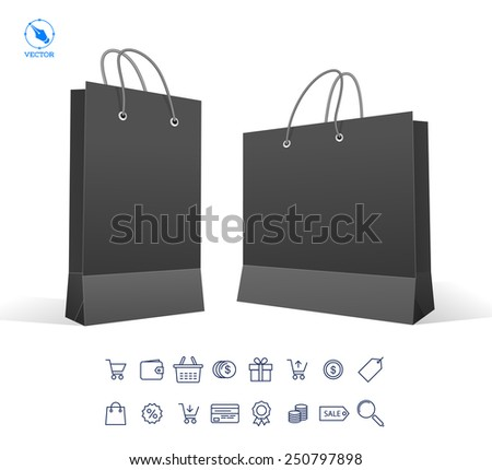 Vector set icons of sale and package. Black Carrier Paper Bag . Illustration Isolated On White Background. Ready For Your Design. Product Packing Vector