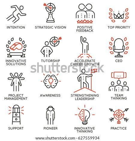 Vector set icons related to career progress, coaching, business people training, tutorship and professional consulting service. Mono line pictograms and infographics design elements - part 4