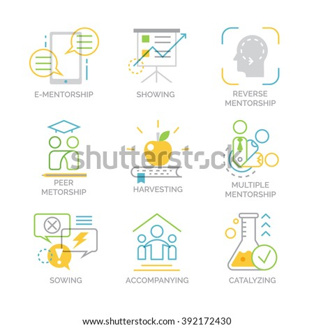 Vector set icons related to types and techniques of mentorship. Sowing, harvesting, showing, catalyzing and accompanying are popular mentorship techniques. - stock vector