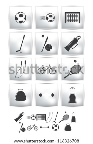 Vector set icons. Sport and  soccer ball - stock vector