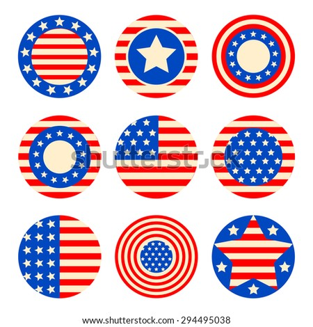 Vector set icons with symbols of the USA fof 4th july american independence day  - stock vector