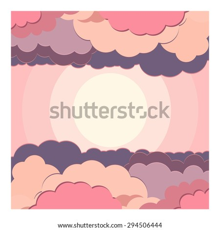 vector set illustration background water and cloud in different nuance colors in flat style
