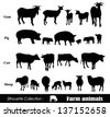 Vector set illustration: farm animals isolated on white - stock