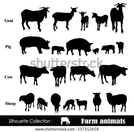 Vector set illustration: farm animals isolated on white - stock vector