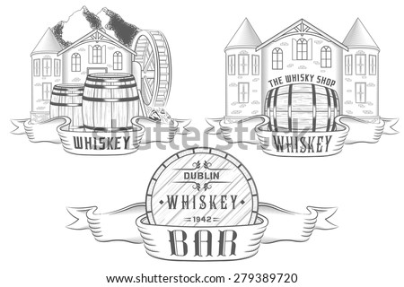 Vector set illustration, logo and badges for alcohol bar, tavern and department whiskey or beer and wine in shop. Collection emblems in form barrels and castles - stock vector