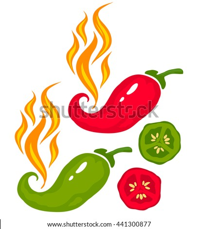 Vector set illustration of a chili peppers with fire