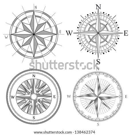Vector set illustration of abstract artistic detailed drawings compass for area map. - stock vector