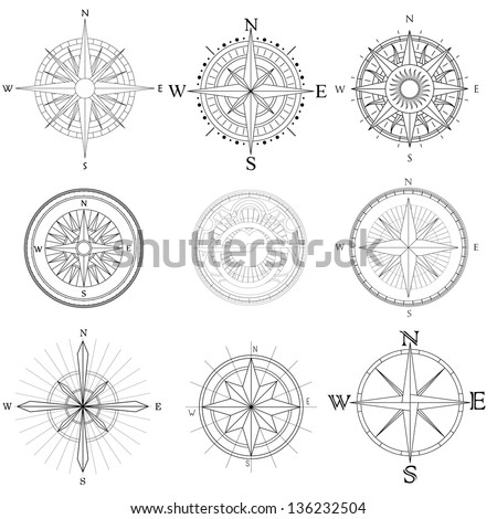 Vector set illustration of abstract artistic drawings compass for area map. - stock vector