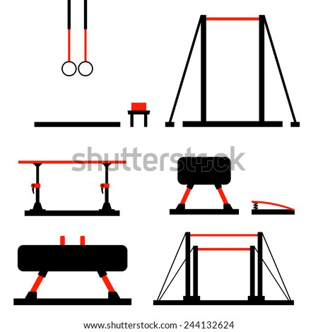 Vector set including objects related to gym equipment in flat design - stock vector